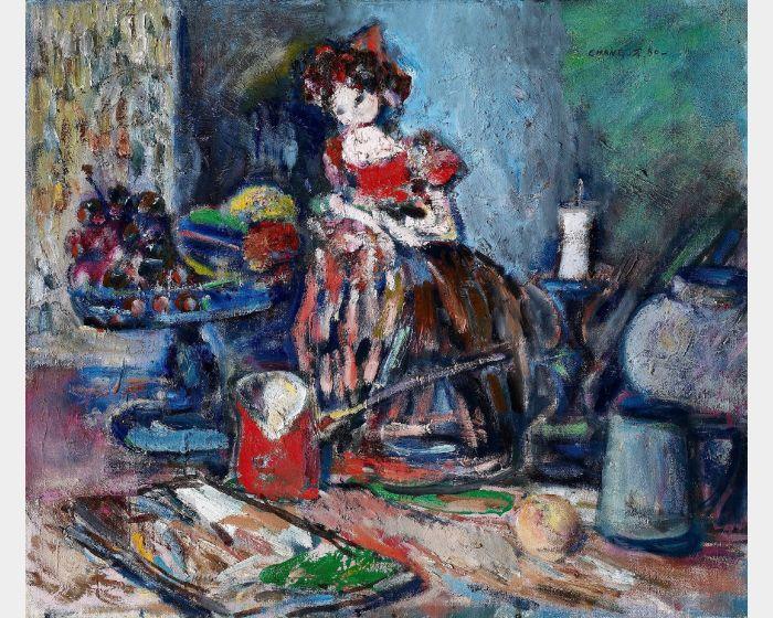 張萬傳-桌上靜物(靜物娃娃) 1980 油彩-10F