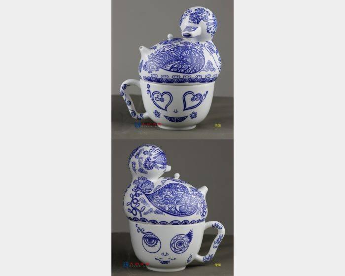 洪易-一輩子的祝福 青花鴨壺杯組