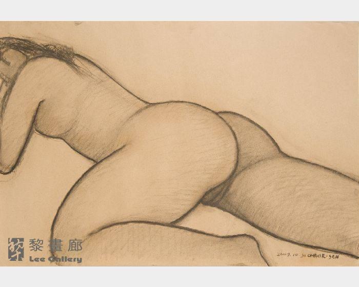 潘朝森-碳筆裸女六