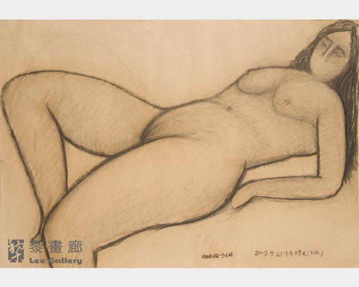 潘朝森-碳筆裸女十二