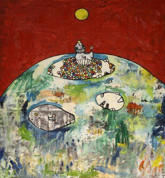 呂英菖-紅色天空下的池塘