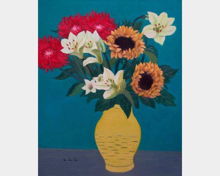 林麗玲-f-03 菊, 百合,  向日葵