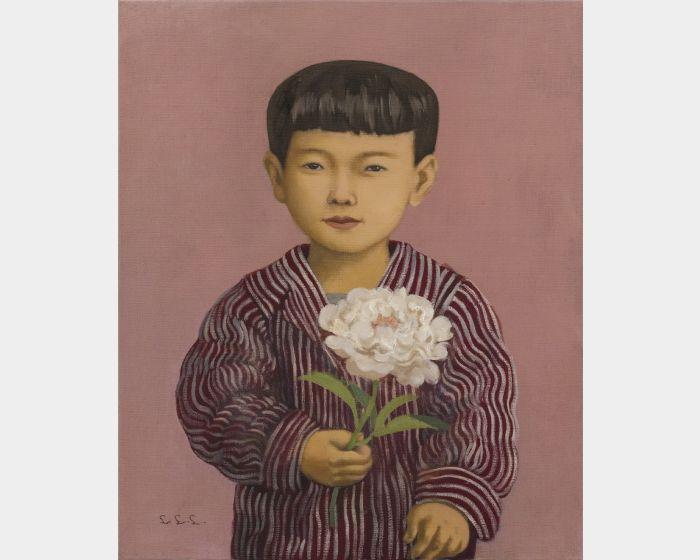 林麗玲-拿牡丹花的小男孩