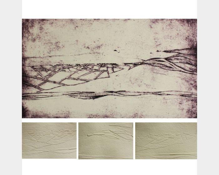 黃詩涵-消逝之境,黃詩涵,紙凹畫版、手抄紙應用,76x52cm、18x25cm,2013