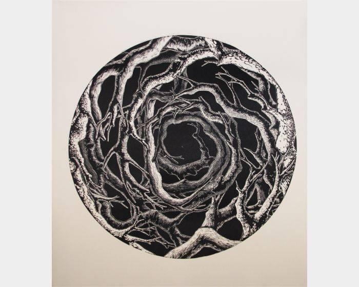 劉家銘-樹林盤據,劉家銘,直徑70cm,新樹脂版、油印,2013