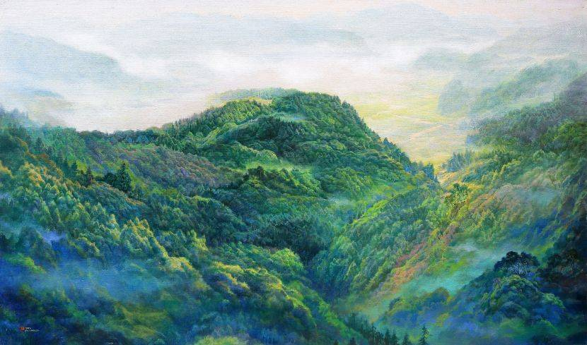 郭明福-翠峰湖之春