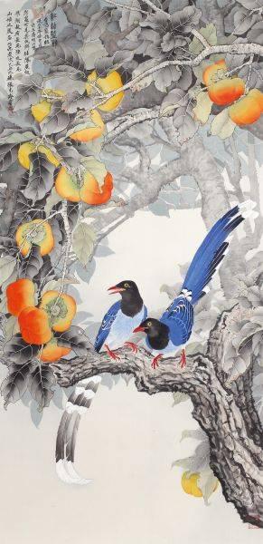 張克齊-紅柿藍鵲