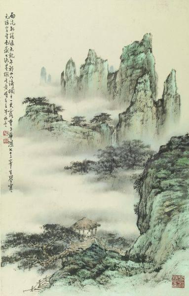 胡念祖-雨洗松林綠