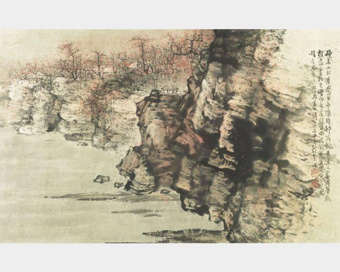 胡念祖-晚山景圖