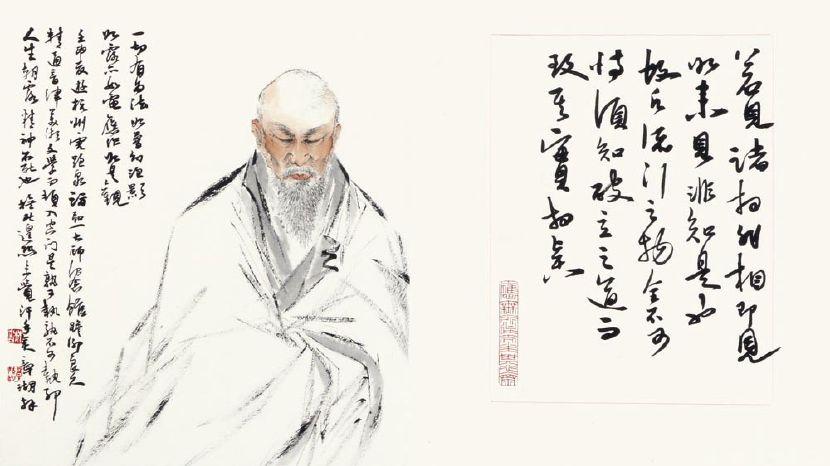 林章湖-禪意人物畫冊(八頁) -弘一