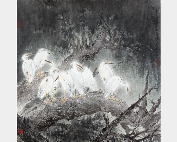 林章湖-林中棲鷺