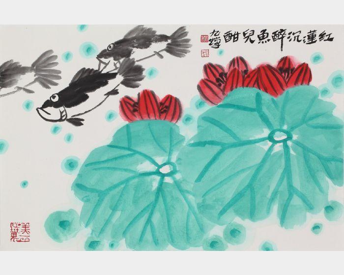 胡九蟬-紅蓮仙游圖