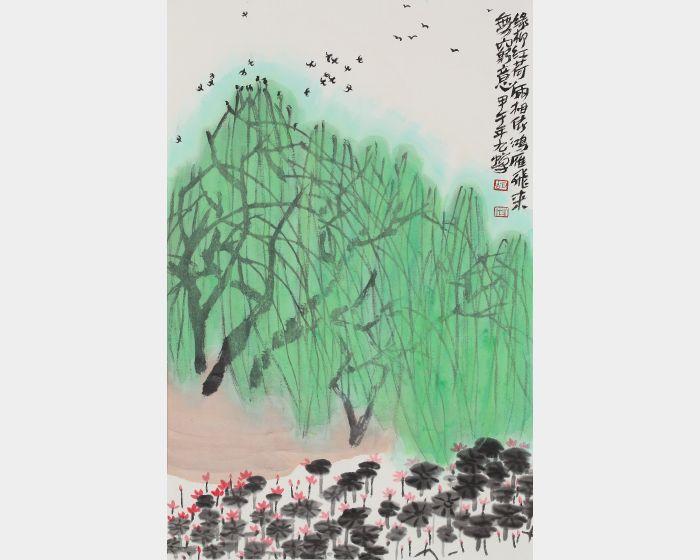 胡九蟬-綠柳紅荷圖