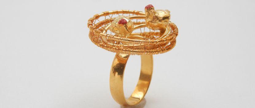 """瑪雅郝特曼-Ring  """"Happinesst"""", goldplated"""