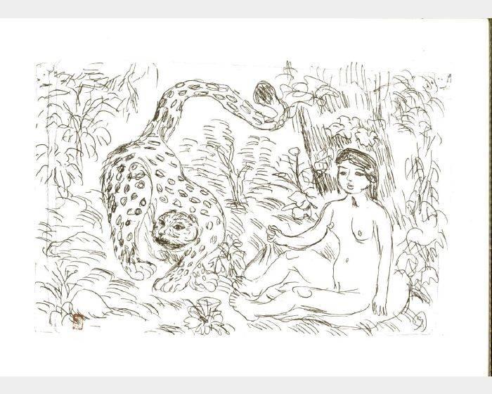 梅原龍三郎-裸女與虎