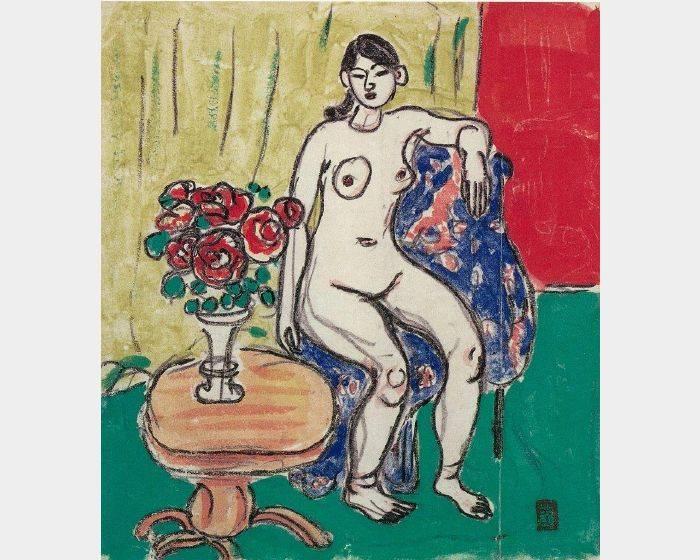 梅原龍三郎-裸女與花