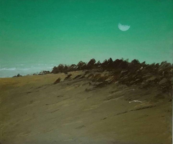 葉東進-旗津之月The moon of Cijin 2018年 56x64cm 油彩蠟筆.卡紙