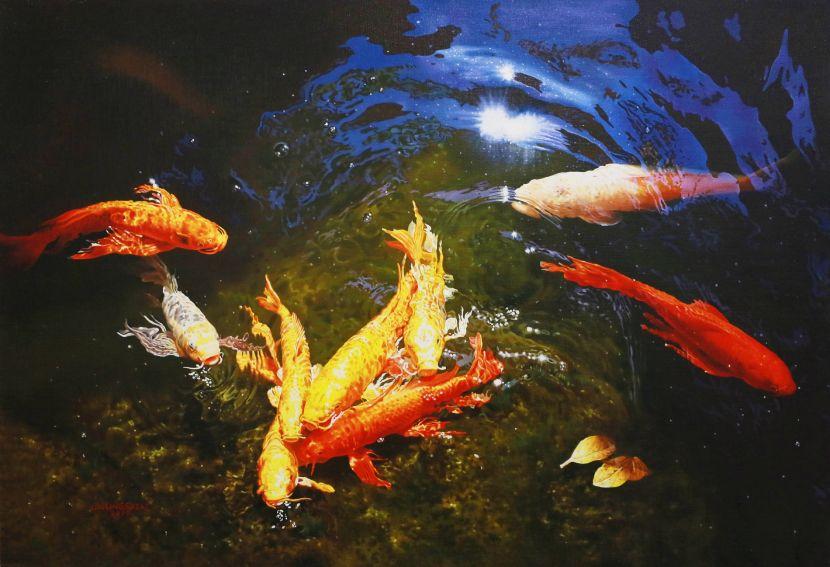 林嶺森-水光錦鯉之二 Koi