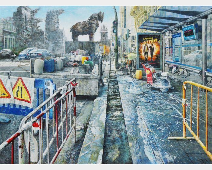 胡文賢-再造-特洛伊 Reconstruction-Troy 2018年 97x130cm(60F) 油彩.畫布Oil on canvas