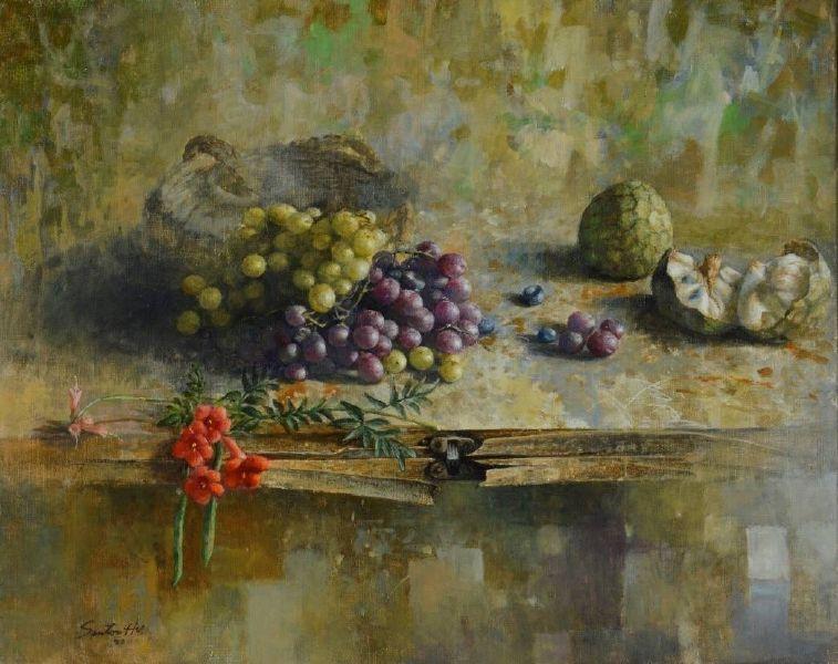 胡文賢-有凌霄花的靜物 Still life with linden flowers