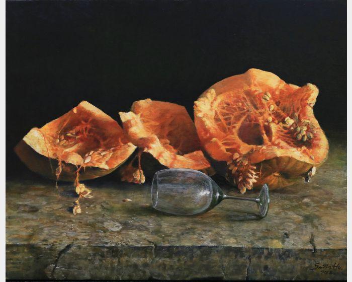 胡文賢-南瓜與酒杯 Pumpkin and wine glass
