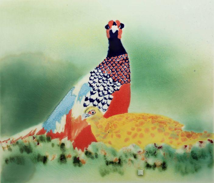 范振金-環頸雉 Ring-necked Pheasant 2018年 32x37cm 陶板釉彩