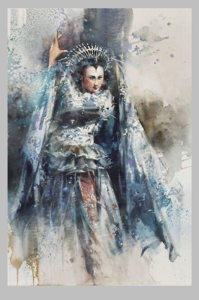 張國徵-水彩西洋歌劇人物《魔笛》夜后