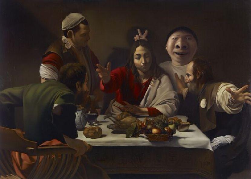 盧昉-伊默思的晚餐大鼻子也在場 Mr. Big Nose at Supper at Emamaus