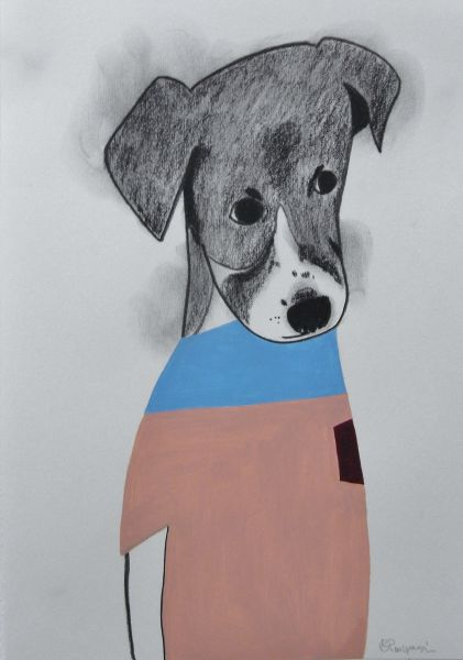 宮城勝規-藍領米格魯 Light Blue Neck Dog (Drawing)