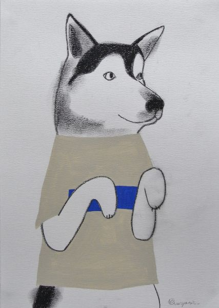 宮城勝規-藍條紋T裇的狗 Chest Blue Line T-shirts Dog (Drawing)