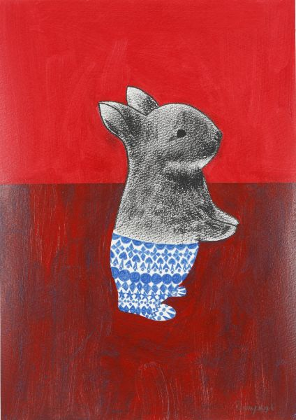 宮城勝規-紅背景的兔子	Rabbit red background  (Drawing)