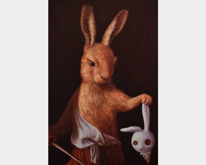 詹喻帆-大衛兔拿著玩偶兔的頭 David Rabbit with the Head of Rabbit Doll
