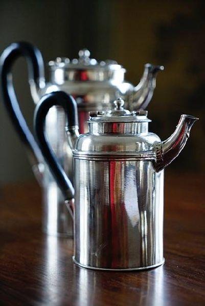 銀器-銀茶壺一對