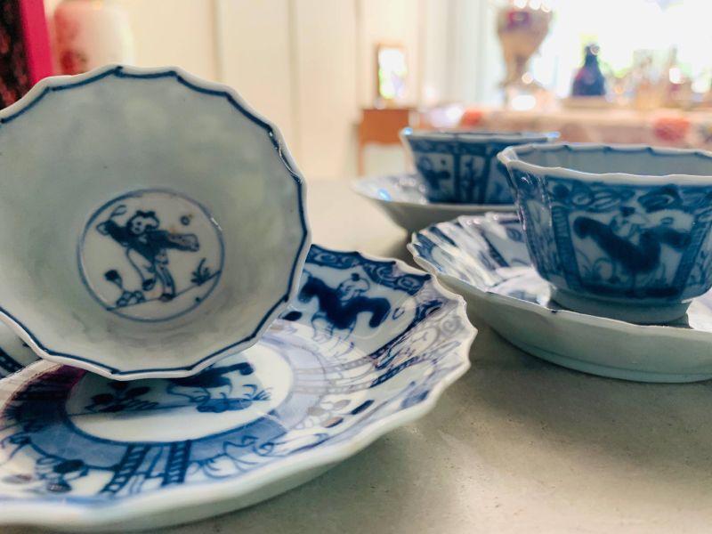 瓷器-青花戲嬰杯盤三組
