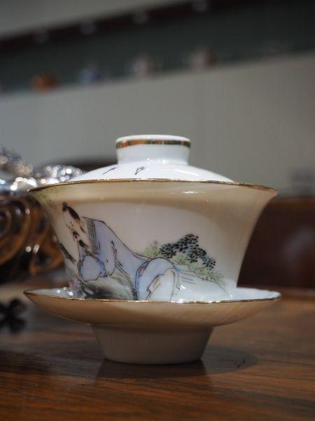 瓷器-人物詩句蓋碗