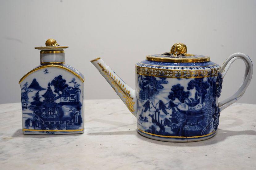 瓷器-青花描金山水紋瓷壺茶罐組