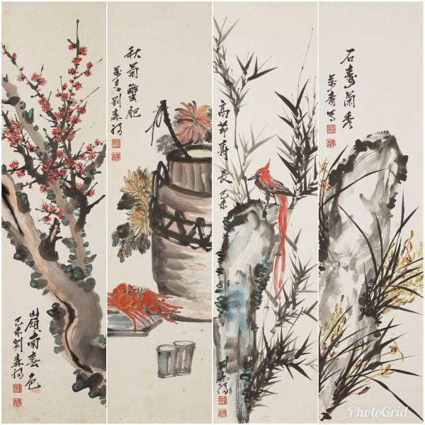 劉森福-1嶺南春色  2秋菊蟹肥  3高節壽長  4石壽蘭秀