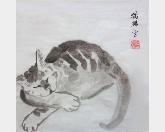 嚴鶴麟-水墨貓