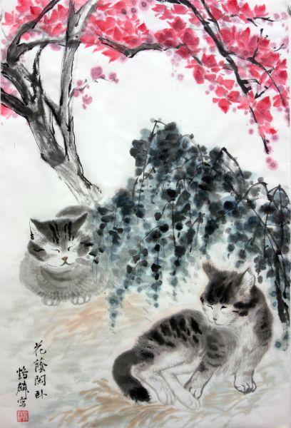 嚴鶴麟-花蔭閑卧