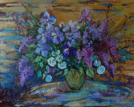 Natalia Nysh-Spring bouquet (seringes and irises)