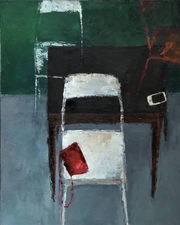 高正幸-遺留椅子上的紅皮包