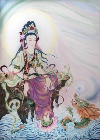 傳意菩提-戲龍觀音  畫師:迴香