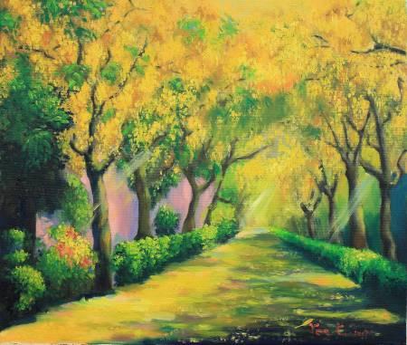 細雨 -榮家阿勃勒 Golden shower road at Veteran Homes