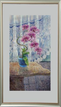 葛拉娜-蘭花的姿態(藍瓶) Orchid in a blue pot