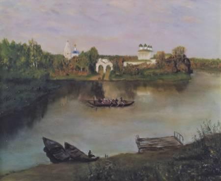 王美惠 -再現俄羅斯古教堂在河岸邊風景油畫