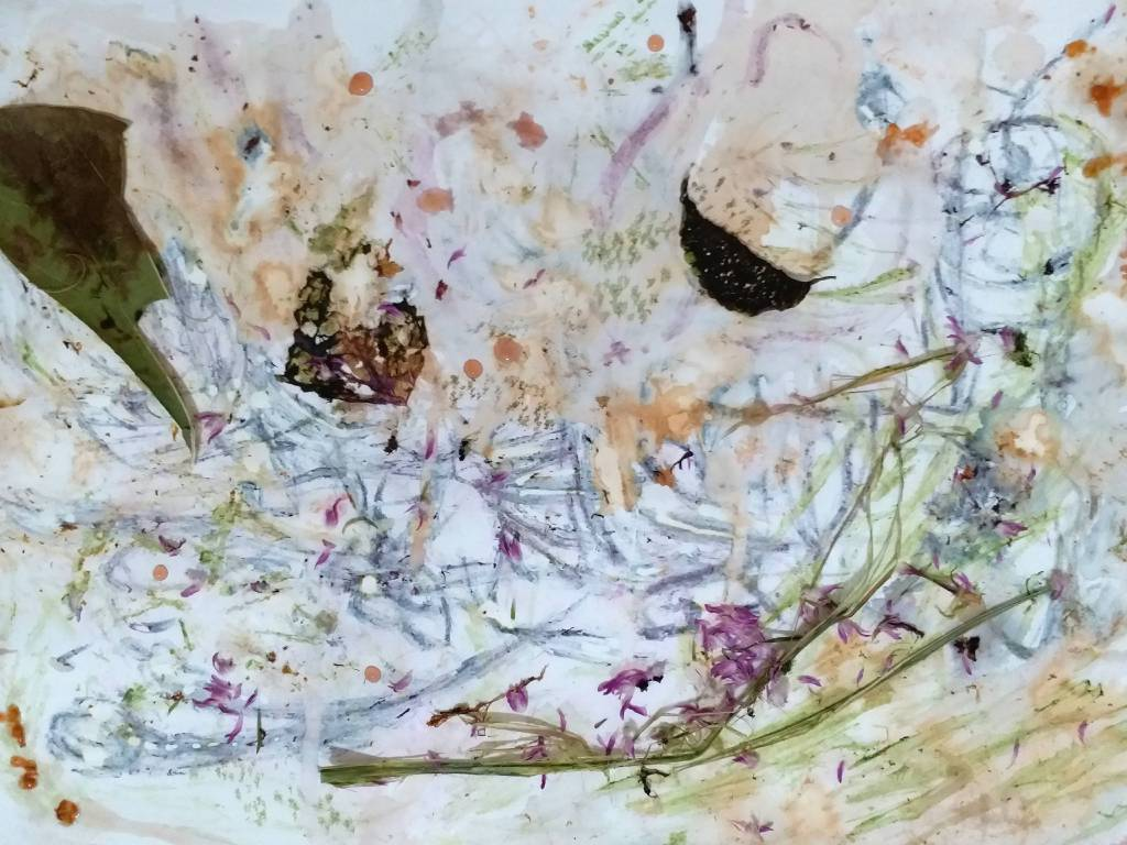 朱笑媚 - Line & Life Project: (Organic drawing) Falling Flowers Freezing