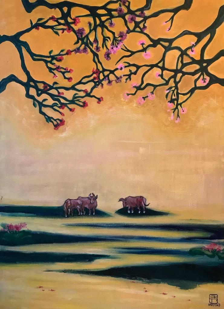 秀子 - 三色樹下的牛群