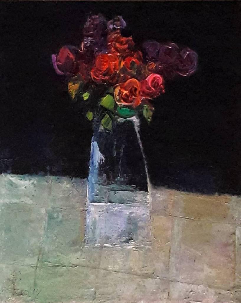 高正幸 - 方格桌巾上的花束