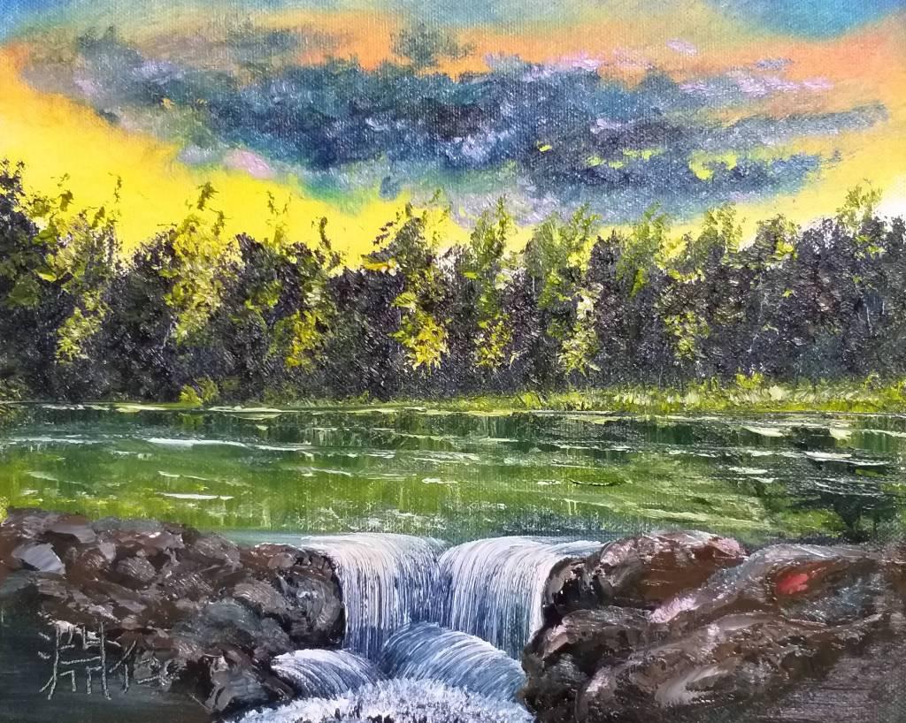 鄭淵仁 - 夕陽下的溪