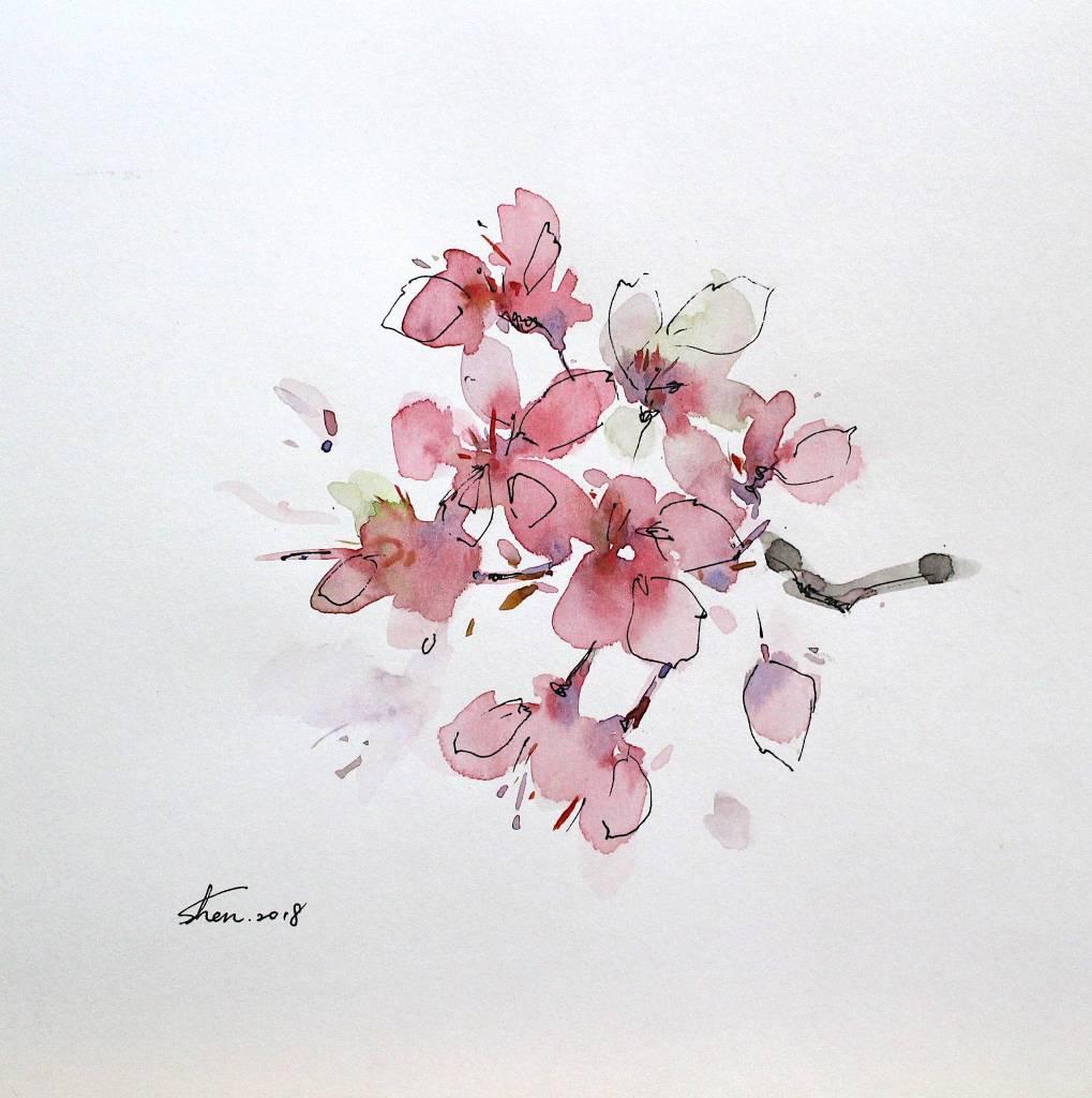 沈鈺華 - 花肖像- 桃花III